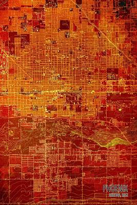Old Map Digital Art - Phoenix Arizona 1952 Red And Orange Old Map by Pablo Franchi