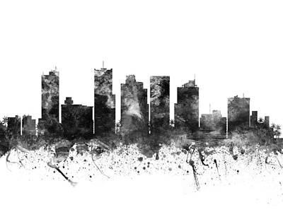 Phoenix Drawing - Phoenix Arizona Cityscape 02bw by Aged Pixel