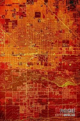 Phoenix Arizona Red Map Art Print by Pablo Franchi