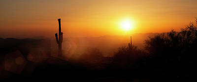 Photograph - Phoenix Arizona Skyline Sunset Horizontal Banner by Susan Schmitz