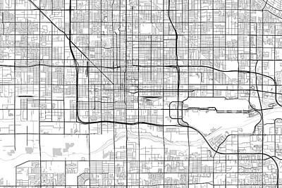Phoenix Digital Art - Phoenix Arizona Usa Light Map by Jurq Studio