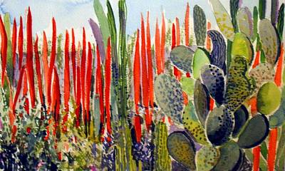 Phoenix Mixed Media - Phoenix Botanical Desert In Red by Mindy Newman