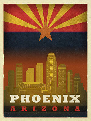 Phoenix Mixed Media - Phoenix City Skyline State Flag Of Arizona Art Poster Series 015 by Design Turnpike