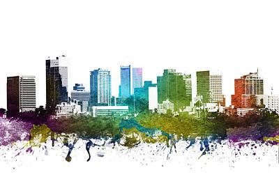 Phoenix Drawing - Phoenix Cityscape 01 by Aged Pixel