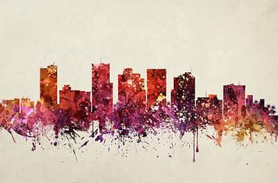 Phoenix Drawing - Phoenix Cityscape 09 by Aged Pixel