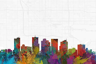 Phoenix Digital Art - Phoenix Cityscape And Streetmap Skyline by Jurq Studio
