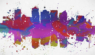 Painting - Phoenix Colorful Skyline by Dan Sproul