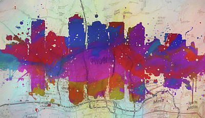 Painting - Phoenix Colorful Skyline Map by Dan Sproul
