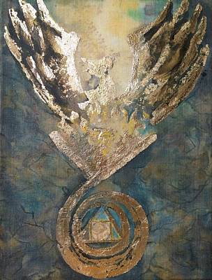 Hermetic Painting - Phoenix From The Stone by Silk Alchemy