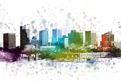 Colorful Drawing - Phoenix Arizona In Color 02 by Aged Pixel