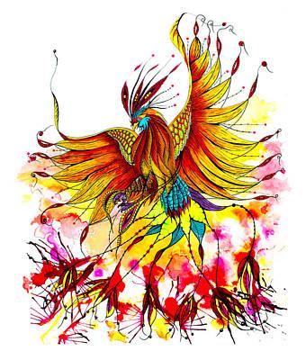 Phoenix Bird Drawing - Phoenix by Isabel Salvador