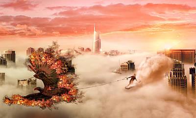 City Sunset Digital Art - Phoenix by Millenia Hexe