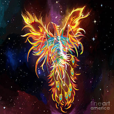 Pyre Painting - Phoenix Rising Constellation by Jackie Case