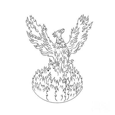 Phoenix Rising Fiery Flames Black And White Drawing Art Print by Aloysius Patrimonio