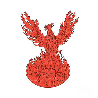 Phoenix Rising Fiery Flames Drawing Art Print by Aloysius Patrimonio
