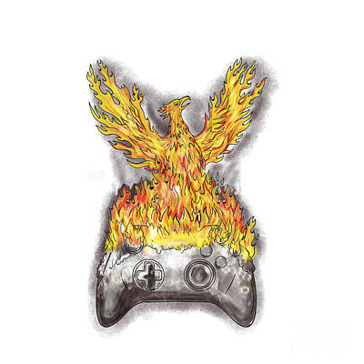 Phoenix Rising Over Burning Game Controller Tattoo Art Print by Aloysius Patrimonio