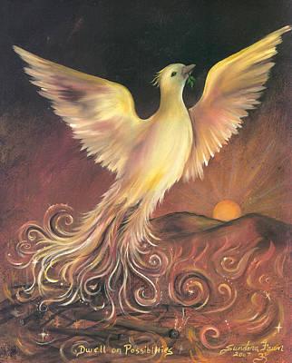 Metaphysical Painting - Phoenix Rising by Sundara Fawn