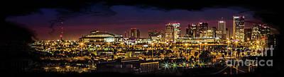 Digital Art - Phoenix Skyline At Nighr by Rod Jellison
