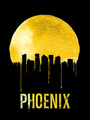 Phoenix Digital Art - Phoenix Skyline Yellow by Naxart Studio