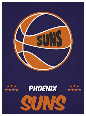 Phoenix Mixed Media - Phoenix Suns Vintage Basketball Art by Joe Hamilton