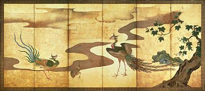 Phoenix Drawing - Phoenixes By Paulownia Trees by Kano Tan'yu