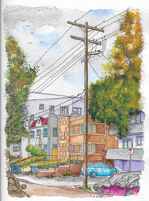 Birds.street Scenes Painting - Phole Pole In Hawthorn And Fuller, Hollywood, California by Carlos G Groppa
