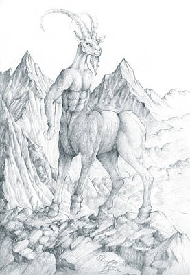 Art Print featuring the drawing Pholus The Centauras by Curtiss Shaffer