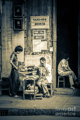 Photograph - Phonecall On Chinese Street by Heiko Koehrer-Wagner
