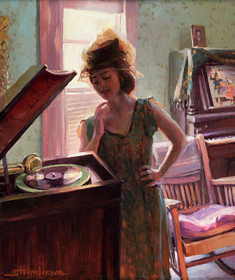 Ostrich Painting - Phonograph Days by Steve Henderson