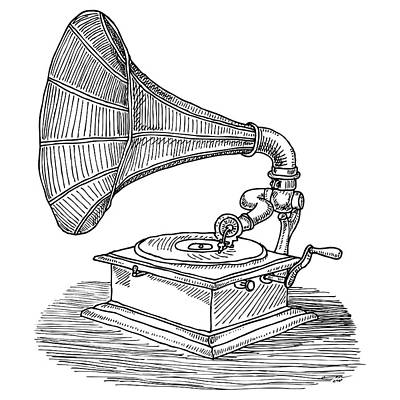 Sound Drawing - Phonograph by Karl Addison