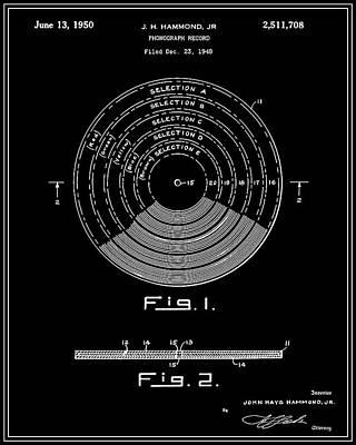 Vinyl Record Digital Art - Phonograph Record Patent - Black by Finlay McNevin