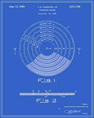 Vinyl Record Digital Art - Phonograph Record Patent - Blueprint by Finlay McNevin
