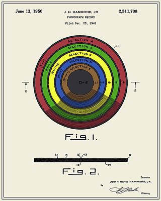 Vinyl Record Digital Art - Phonograph Record Patent by Finlay McNevin