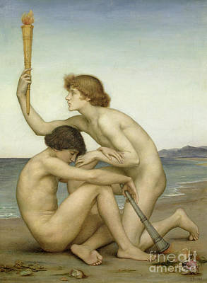Naked Man Painting - Phosphorus And Hesperus by Evelyn De Morgan