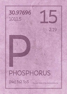 Periodic Table Wall Art - Mixed Media - Phosphorus Element Symbol Periodic Table Series 015 by Design Turnpike