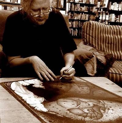Pyrography - photo by anonomouse of me and my THEN newest completed work titled Pauls Pain by Jack Dillhunt
