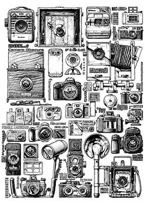 Vintage Camera Drawing - Photo Cameras Evolution by Alexander Babich