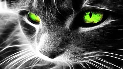 Manipulation Photograph - Photo Manipulation Cat With Green Eyes                 by F S