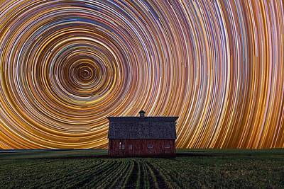 Manipulation Photograph - Photo Manipulation Star Trails Night Sky Exposure                by F S
