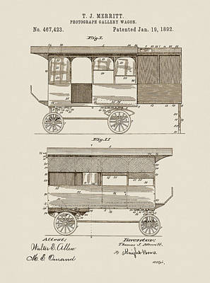 Vintage Camera Drawing - Photograph Gallery Wagon Patent by Dan Sproul
