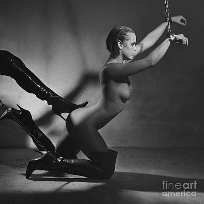 Photograph - Photograph Woman Nude And Shackled In Black And White #7911s by William Langeveld