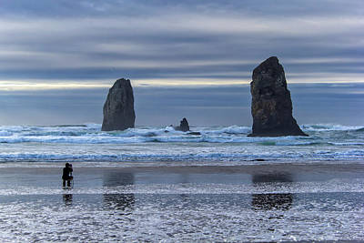Photographer At Cannon Beach Art Print by David Gn
