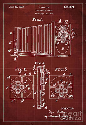 Blueprint Digital Art - Photographic Camera Patent Year 1930 by Pablo Franchi