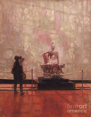 Wall Art - Painting - Photographing The Chinese Temple Gallery, Nelson Atkins Museum Of Art by Patrick Saunders