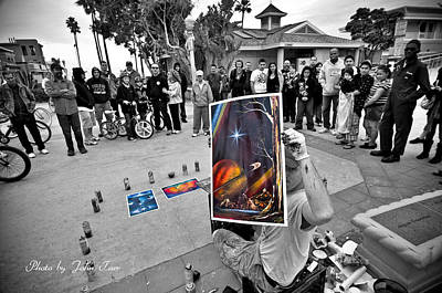 Creative Manipulation Photograph - Photography Special Effects Of Man And Crowd In Black And White And His Paintings In Color         by John Tarr Photography  Visual Adventurer