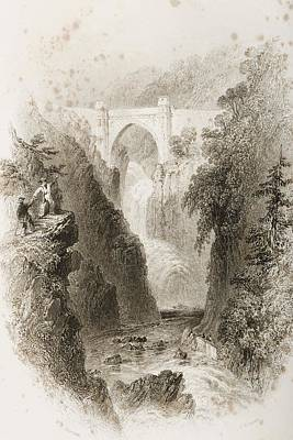 Fall Scenes Drawing - Phoul A Phuca Falls, Ireland.drawn By by Vintage Design Pics