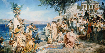 Greek Temple Painting - Phryne At The Festival Of Poseidon In Eleusin by Henryk Siemieradzki
