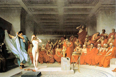 Painting - Phryne Before The Areopagus 1861 by Jean Leon Gerome 1824-1904