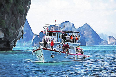 Digital Art - Phuket Cruise Boat by Dennis Cox Photo Explorer