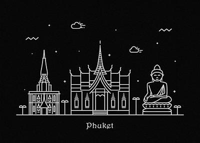 Drawing - Phuket Skyline Travel Poster by Inspirowl Design